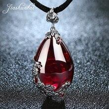 JIASHUNTAI Retro 100% 925 srebro królewski kamienie naturalne wisiorek naszyjnik biżuteria dla kobiet w stylu Vintage