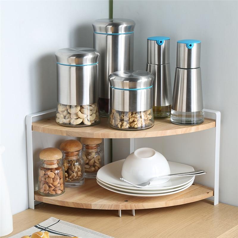 Dual Layer Kitchen Corner Shelf Spice Racks Wood Storage