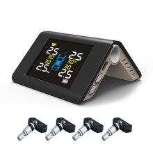 Автомобильный TPMS система контроля давления в шинах солнечной энергии зарядки TFT дисплей давления в шинах 4 Внутренний датчик