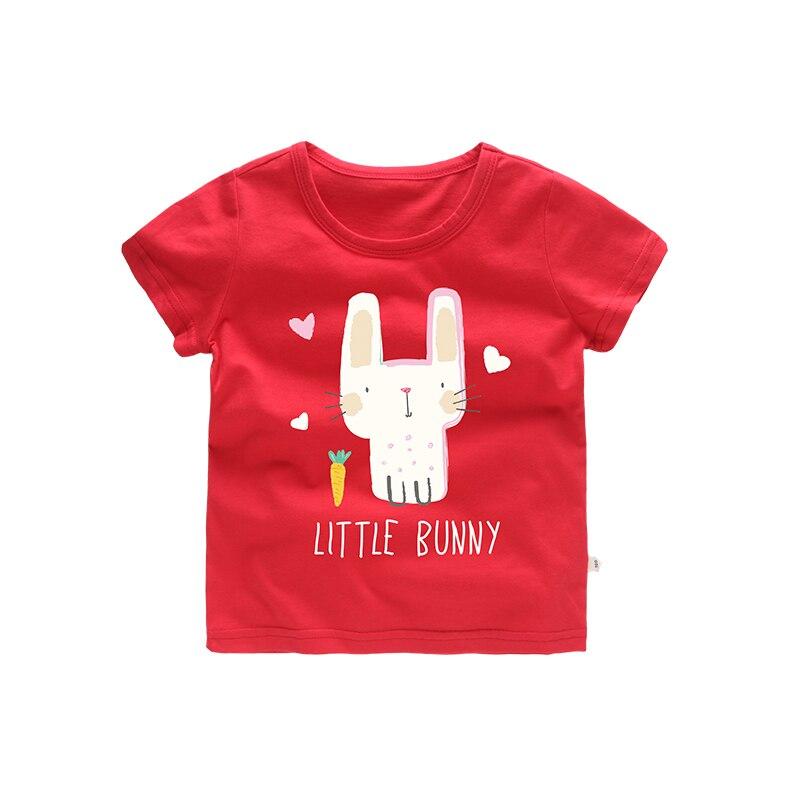 2018 Girls Summer T shirt kids tshirt Cloth Cartoon Little Bunny Rabbit Pattern Red Black Green Color Cute Princess Style Tops
