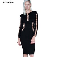 HIGH QUALITY Winter Party Dress Women Sexy Sheath Bodycon Knee Length Dress Long Sleeve Package Hip