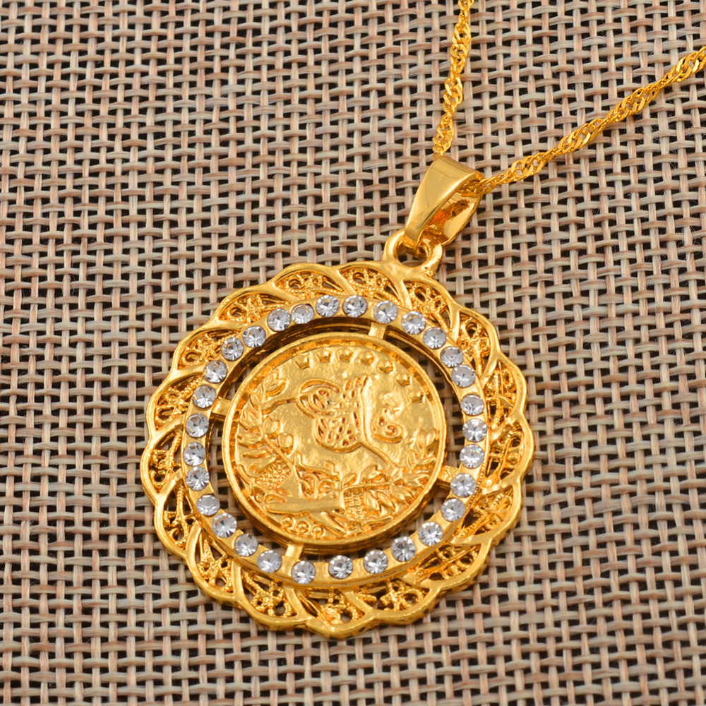 Anniyo 3 4cm Turke Coin Pendant Necklaces For Women Gold Color Turkey Jewelry Small Turkish Lira Pendand Gift 042306 In Chain From