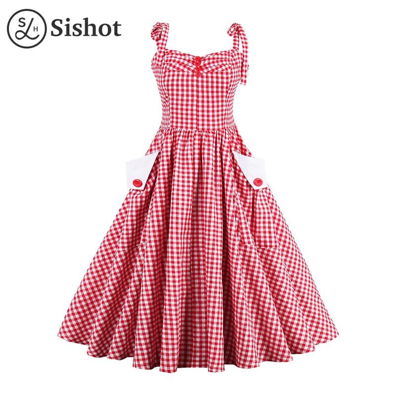 Sishot women vintage dresses red plaid 2017 summer sleeveless a line party dress white pocket knee length o neck retro dress