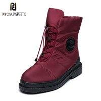 Prova perfetto High Quality Warm Fur Snow Boots Women Plush Insole Waterproof Boots Platform Heels Red Black Winter Women Boots