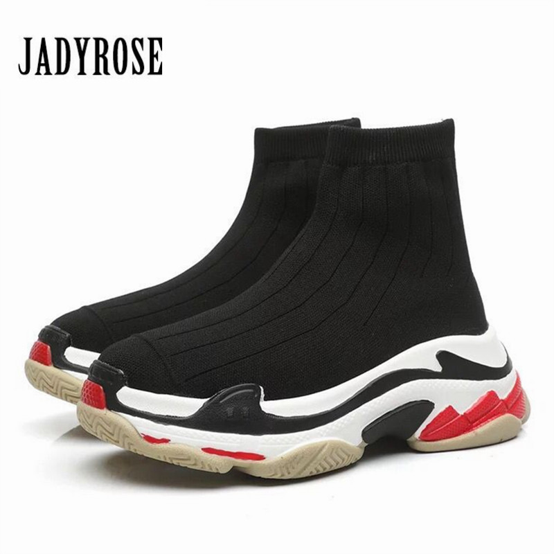 Jady Rose Fashion Women Sneakers Slip On Platform Creepers Female Casual Flat Shoes Woman Ladies Elastic Sock Boots Espadrilles fujin 3cm black grey women spring boots winter fashion women flats bow woman platform shoes slip on espadrilles shoes creepers