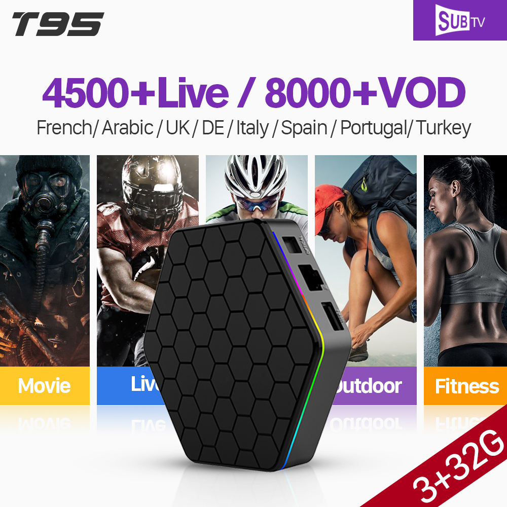 T95Z Plus IPTV France 3GB 32GB S912 Octa Core Smart Android 7.1 TV BOX WiFi TV Receiver With SUBTV IPTV Arabic France Italy