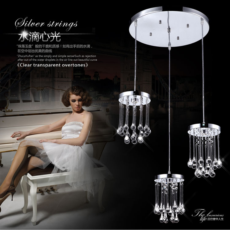 modern crystal pendant light Water drops for dining-room bar bedroom kitchen hanging lighting lamp