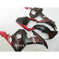 High grade ABS fairings set for YAMAHA R6 2003 2004 2005 red flames in black fairing kit YZF R6 03 04 05 body kits #189