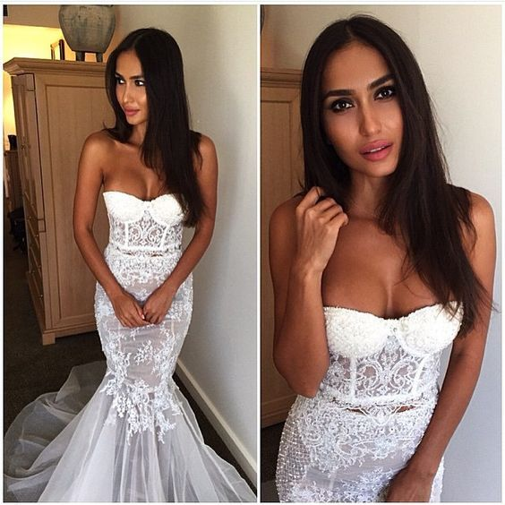 vintage lace mermaid wedding dress tulle chapel train vestido de noivas see through islamic wedding gowns
