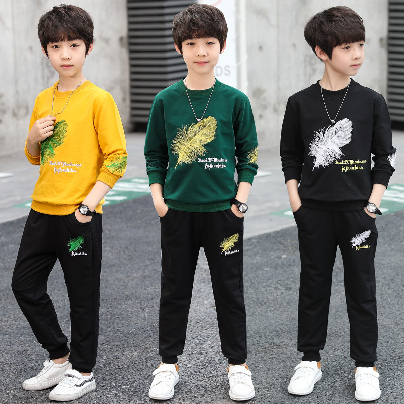 Boy Clothes 2019 New Spring Autumn Children's Wear Long Sleeve Sports Suits kids tshirt and pants Sets 6 7 8 10 12 13 years