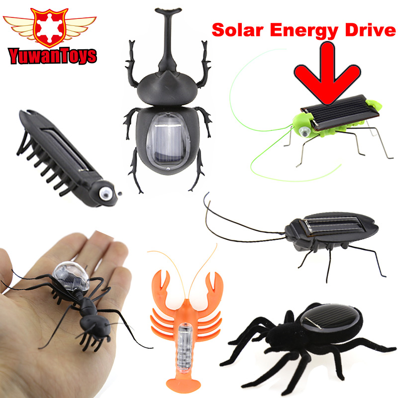 Hot Solar Spider Ant Cockroach Grasshopper Solar Power Energy Insect Solar Novelty Funny Toys Mini Green Robots Novelty Gags Toy