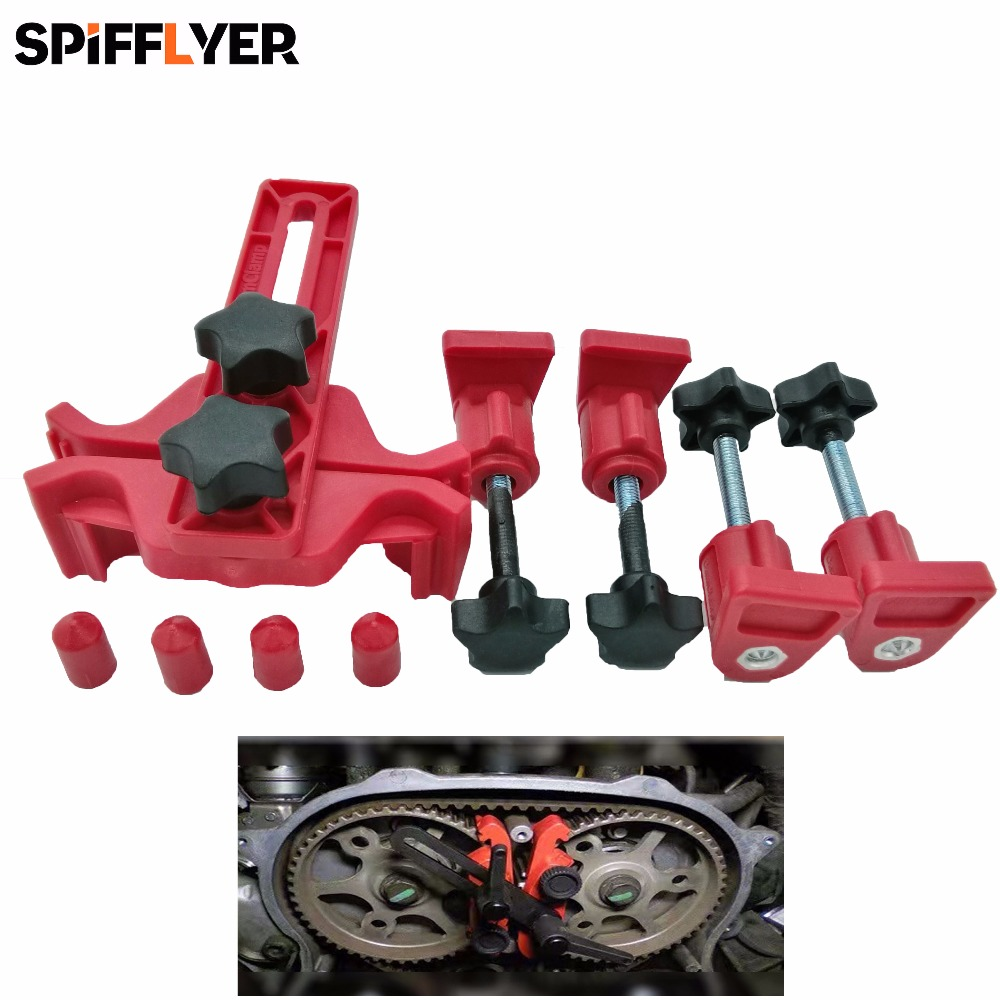 SPIFFLYER Car Auto Universal Dual Cam Clamp Camshaft Sprocket Gear Locking Engine Timing Tool Kit for Ford Focus Suzuki Swift 11t reduction gear box dual sprocket single sprocket for 47cc