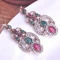 Blucome resina verde brincos bijoux turca brinco flor gota max brincos grandes do vintage liga de metal antiuqe acessórios de ouvido