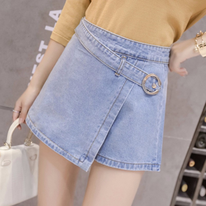 2018 Summer New Fashion   Shorts   Skirt Denim Korean Style Women's Skorts Skirt Woman   Short   Jeans