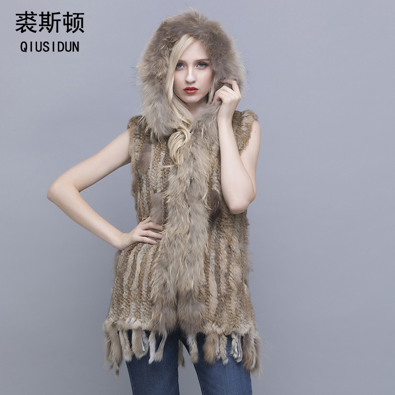 QIUSIDUN Real Rabbit Leather Knitting Vest Winter Warm Fashion Long Section Tassel With Pocket Rabbit Leather Vest Large Size