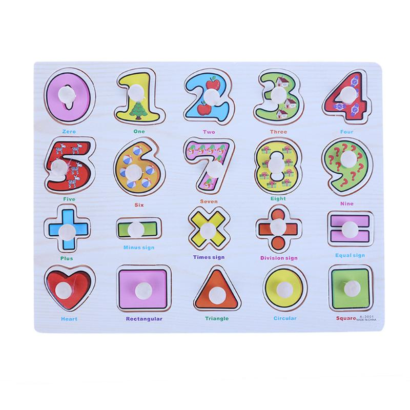 Wood Letter Math Learning Early Educational Toys Baby Hand Grasp Wooden Puzzle Jigsaw Kindergarten Learning Teaching Tools