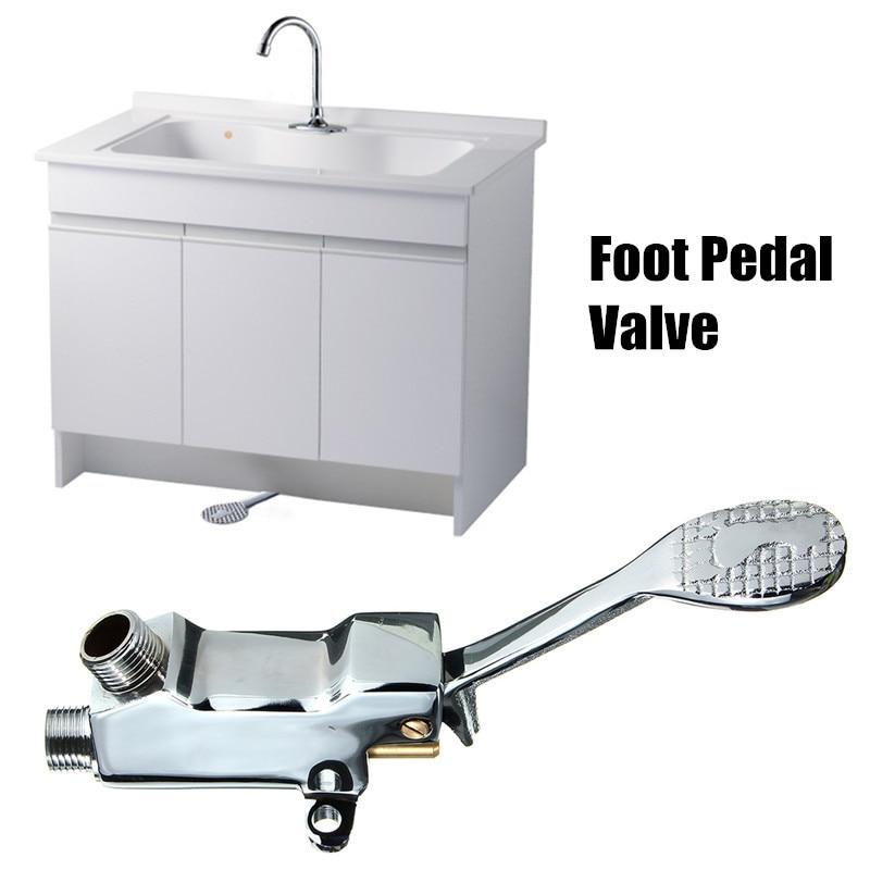 цена на BaiDaiMoDeng Copper Faucet Basin Floor Mount Pedal Hospital Medical Laboratory Foot Switch Brass Tap Kitchen Bathroom