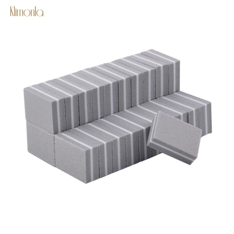 50pcs/lot Double-side Nail Art Buffer File Mini Gray Nail Sanding Polish Blocks Cuticle Remover Nail Accessories Tools