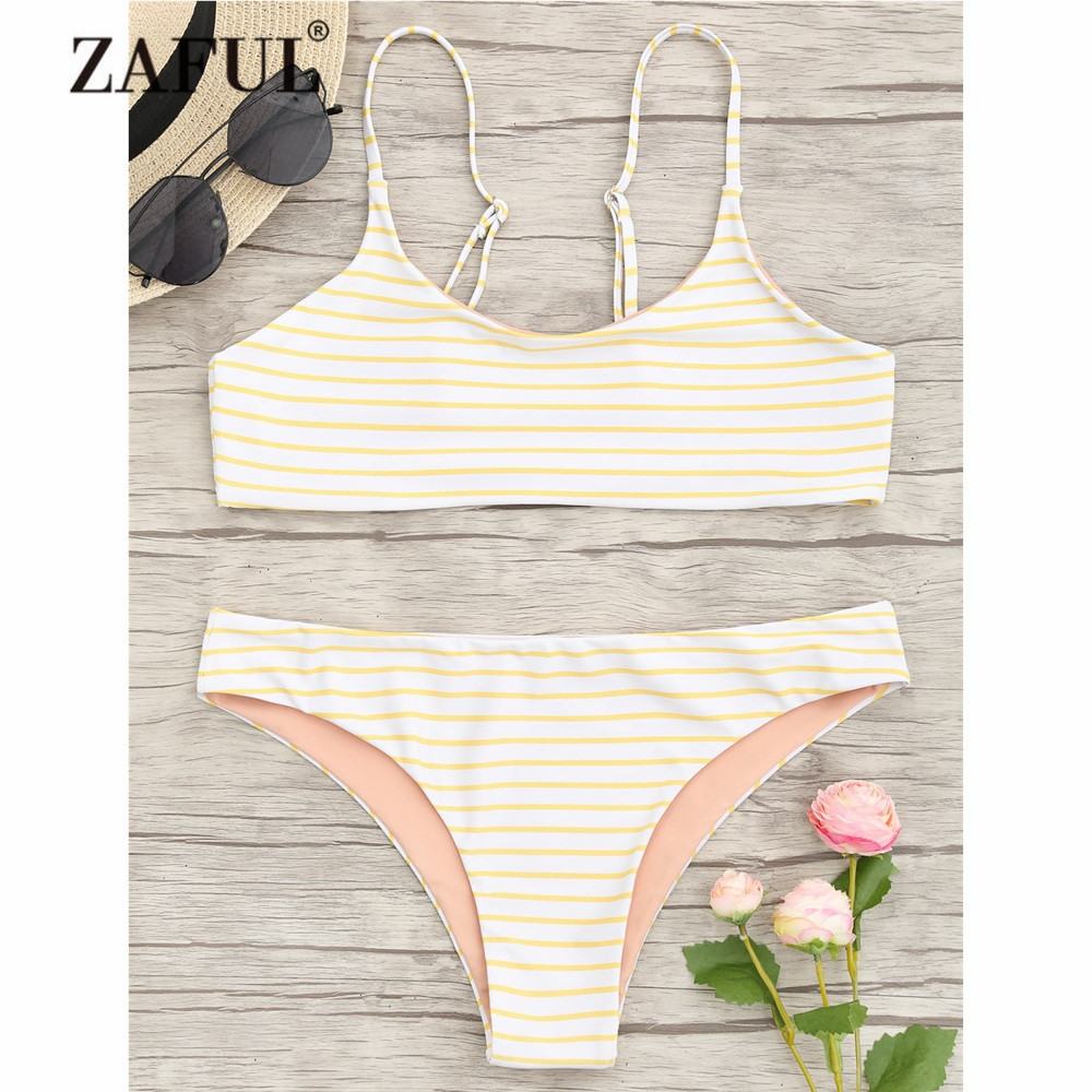 ZAFUL New Bikini Women Swimwear Striped Cami Bralette Bikini Set Low Waisted Spaghetti Straps Bralette Swim Crop Top and Bottoms zaful 2017 women new one shoulder bikini top and bottoms sexy low waisted bralette one shoulder swimsuit summer beach bikini
