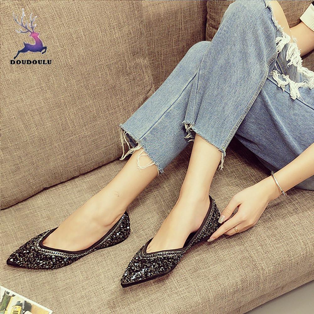 Pointu Femme Paillettes 2018 Chinois Unique Zapatos Mujer Femmes De A Plat Chaussures Fond Mou Nouvelles Mode 5UPnwxIw1
