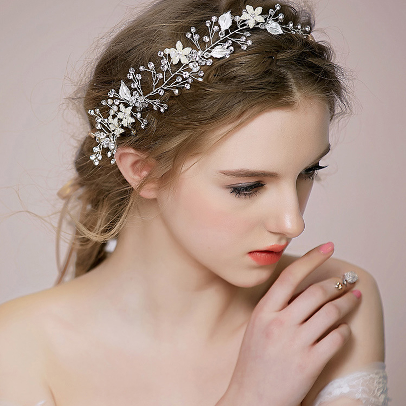 gold silver floral bridal headpiece copper wire tiara wedding hair accessory hair vine handmade headband hair jewelry for bride in hair jewelry from jewelry