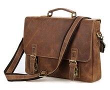"Nesitu Vintage Brown 100% Guarantee Genuine Leather Crazy Horse Leather Men Messenger Bags Briefcase 15.6"" Laptop Bag #M7229"