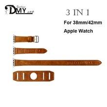 Дмг высокое качество 3 в 1 одноместный / двухместный тур обертывания ремешком для apple , часы группы кожаный микро-цикла дополнительные доставка-лонг 42 мм 38 мм