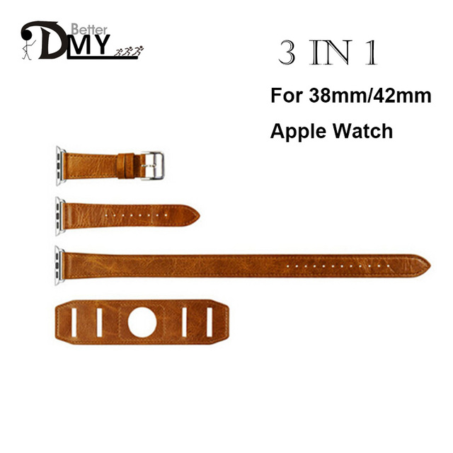 DMY High quality 3 in 1 Cuff Single/ Double Tour wraps strap for apple watch band genuine Leather loop extra-long 42mm 38mm