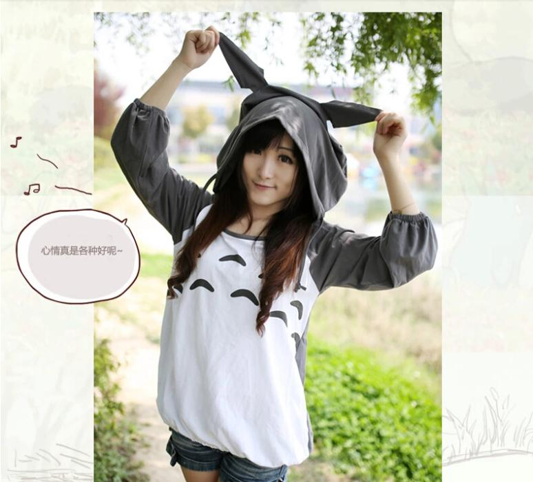 Ladies Autumn New T-shirt  Long Sleeve Tees Anime My Neighbor Totoro Sweatshirt Tees for Girls Wholesale