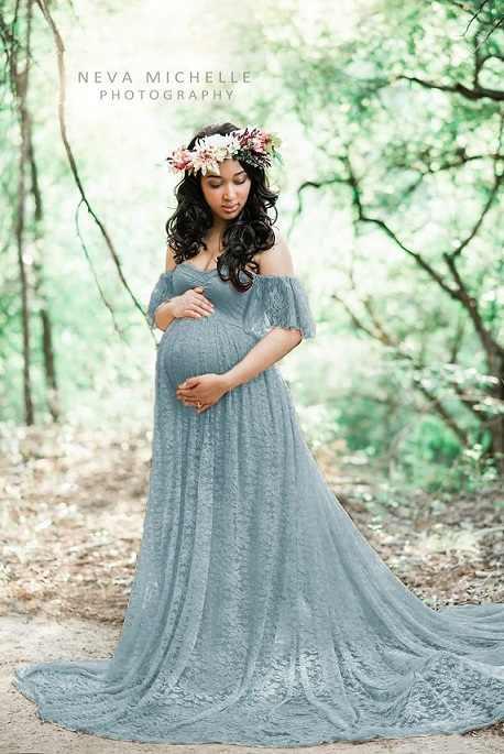 Vestido de fotografía de maternidad Props vestido de embarazo ropa de fotografía para sesión de fotos vestido de embarazada de encaje Maxi vestido