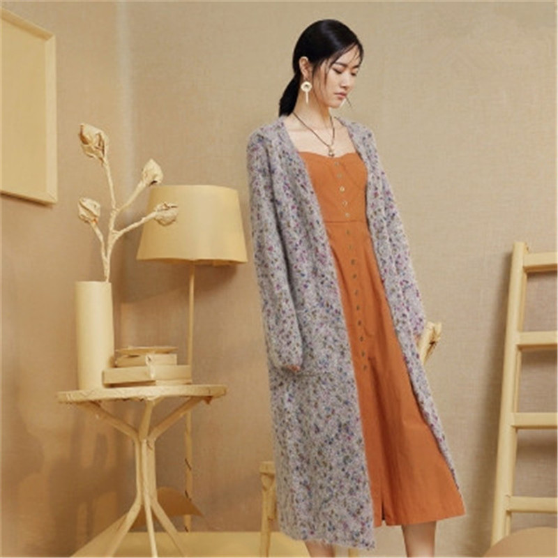100%hand Made Wool Blend Knit Women Streetwear Vneck Color Spot Long Cardigan Sweater One&over Size