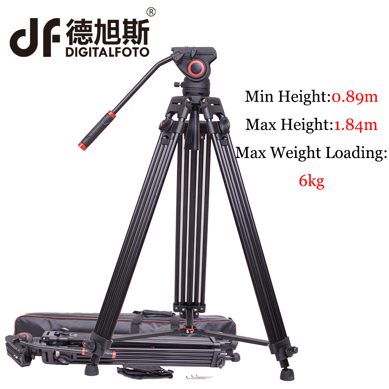 DIGITALFOTO 72 DT03 Aluminum Tripod Video Camera Tripod Kit Fluid Head Load 6KG Professional Tripod for HDV C300 BMCC Camera image