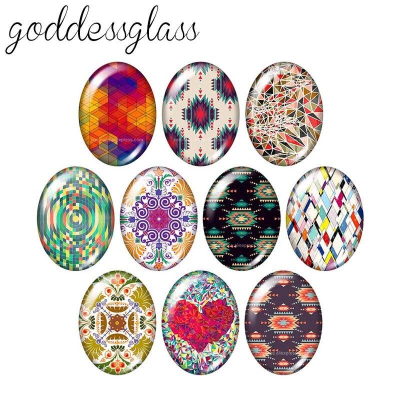 Beauty Colorful Patterns 10pcs Mixed 13x18mm/18x25mm/30x40mm Oval Photo Glass Cabochon Demo Flat Back Making Findings TB0089