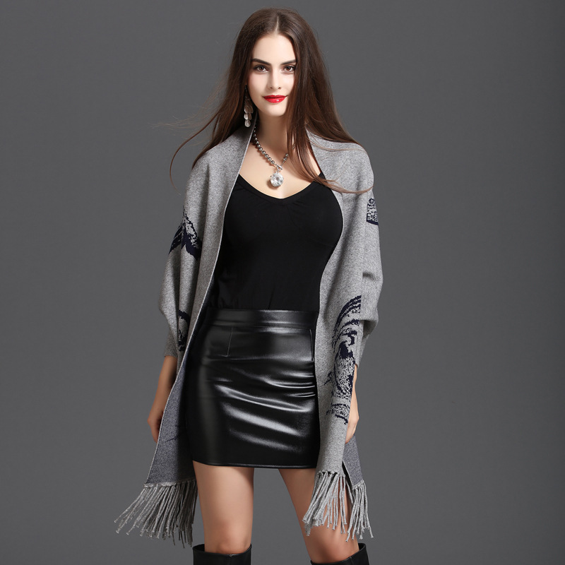 2018 Oversize Bat Scarf Spring Faux Cashmere Pashmina Women Print Cardigan Designer Female Long Sleeves Coat Vintage Shawl in Women 39 s Scarves from Apparel Accessories