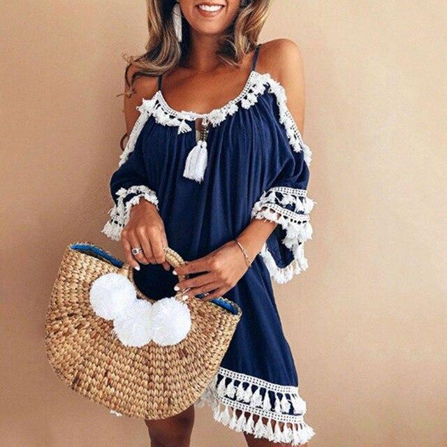 Women Vintage Casual Dress Off Shoulder Sexy Summer Dress 2019 Tassel Party Beach Mini Dresses Sling Sundress Vestidos Sukienka