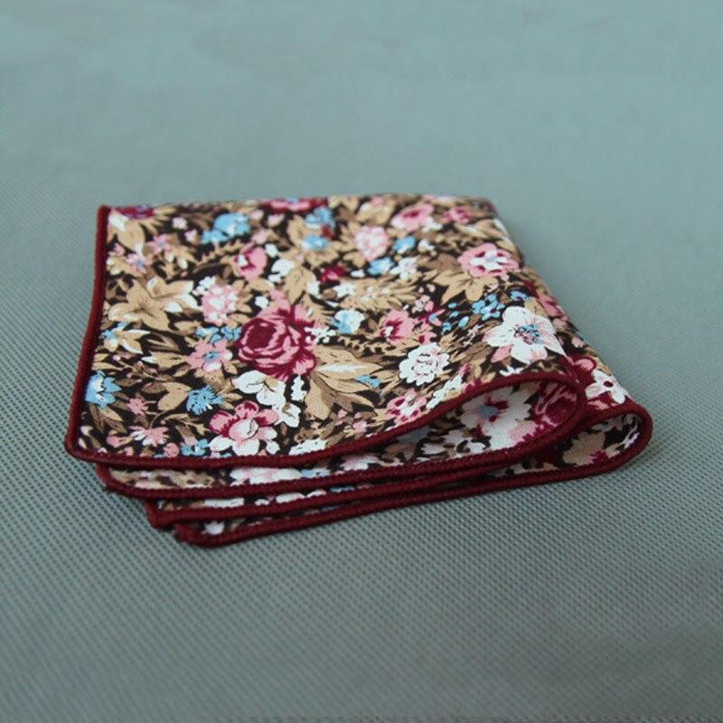Mantieqingway Retro Style Floral Handkerchiefs 23cm Pocket Towel For Mens Suit Wedding Party Cotton Pocket Square Women Hanky