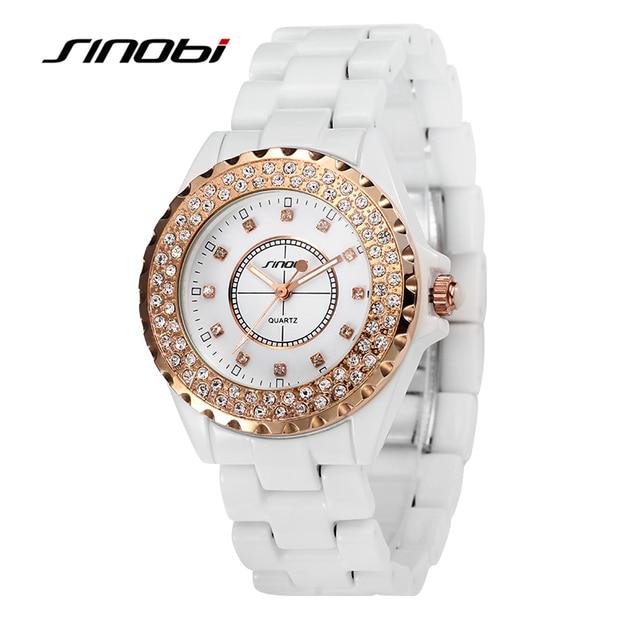 72ad04797a26 SINOBI Марка Для женщин Часы Роскошные Керамика браслет Кварцевые часы  женский ...