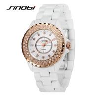 SINOBI Brand Women Watches Women Luxury Ceramic Bracelet Quartz Watch Female Diamond Watches Women Wristwatches relogio feminino