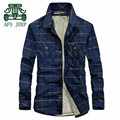AFS JEEP Winter 2016 Fleece Inner Thickness Men's Casual Plaid Cotton Shirt,Original Brand Men's Keep Warmly Slim Casual Shirts