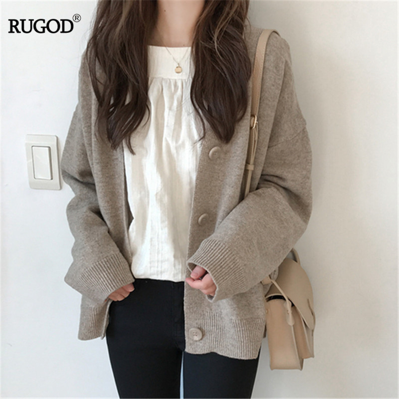 RUGOD Plus Size Sweaters Solid Color V-neck Knitted Cardigan Knitwear Winter Tops For Women Clothes 2019 Korean Style Simplee