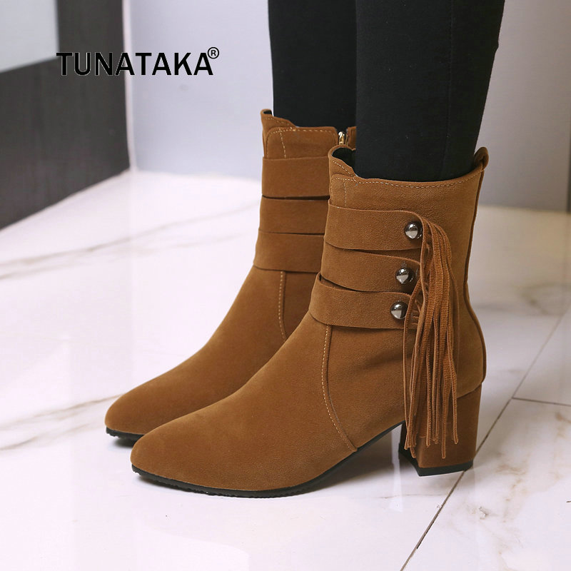 Women Thick High Heel Ankle Boots Warm Short Plush Fashion Pointed Toe Fringe Shoes Woman Beige Black Yellow