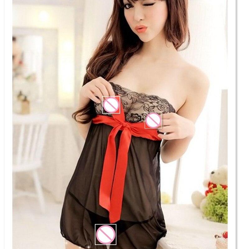 hot erotic lingerie Fashion Women Sexy Lingerie underwear Dress Lace Babydoll Women Nightwear+G-string
