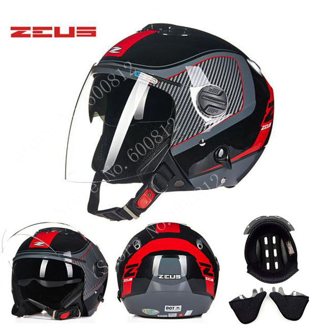Four seasons ZEUS Red white double lenses motocross motorcycle helmet ZS-202FB open face motorbike helmets scooter bike eternal yohe half face motorcycle helmet yh 868 abs motorbike helmet double lens electric bicycle helmets for four seasons