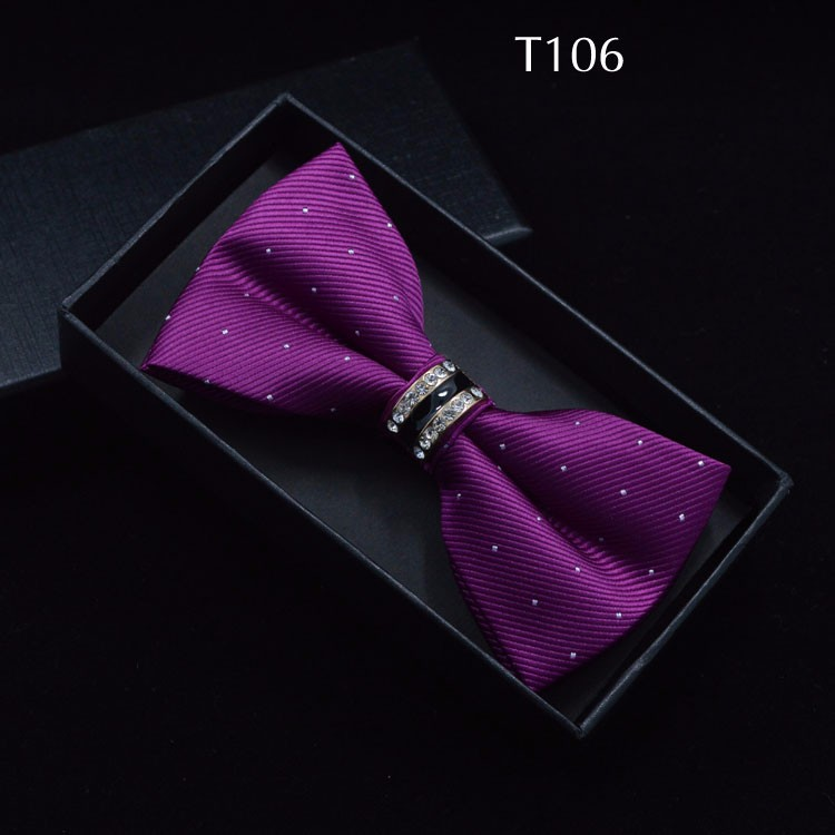 Tuxedo Metal Crystal Wedding Bow Tie Men Women Butterfly Knot Cravat Black Purple Blue Jujube Red Groom Party Banquet Meet Club 5