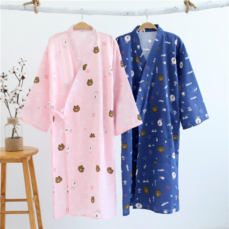 Cardigan Kimonos Mujer 2019 Summer Cotton Chinese Japanese Sexy Pajamas Kimono Dress For Women Clothing Nightgown Home