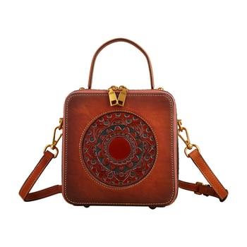Vintage Luxury Women Genuine Leather Handbags Ladies Retro Elegant Shoulder Messenger Bag Cow Leather Handmade Womans Bags