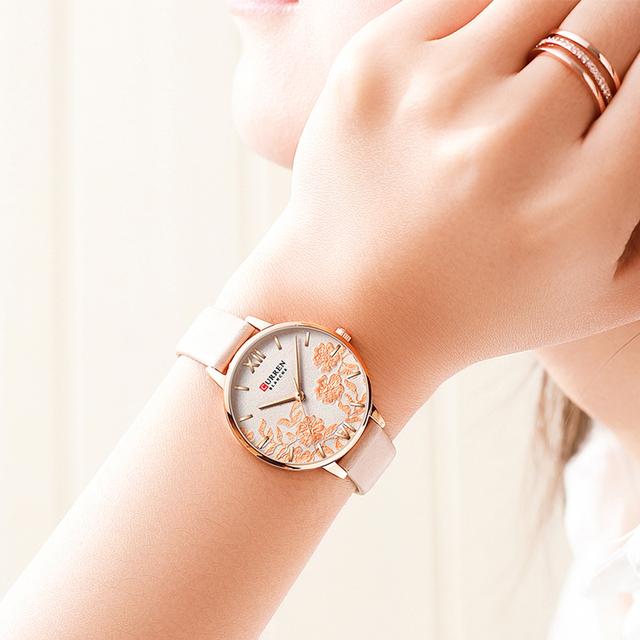 NEW CURREN Watches for Women Casual Leather Strap Quartz Wristwatch Luxury Top Brand Gold Clock Watch Female Classy Ladies Watch