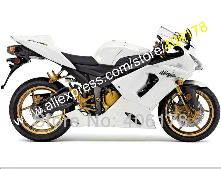 Hot Sales,For Kawasaki Sportsbike Ninja ZX-6R 05 06 ZX 6R ZX6R 2005 2006 ZX 6R All White Motorcycle Fairing (Injection molding) hot sales for kawasaki ninja kit zx6r 09 10 11 12 zx 6r 636 zx636 2009 2012 zx 6r motorcycle fairings parts injection molding