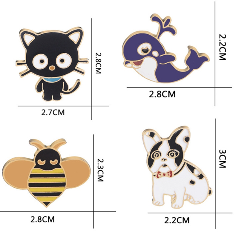 Blue Whale Cat Dog Bee Kitten Brooch Metal Drip Oil Pins Fashion Cute  Animal Badge Jacket Dress Collar Lapel Pin Jewelry