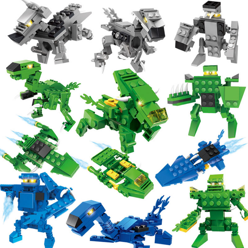 Magfosho Cogo Flying dragon Warrior Building Blocks Dinosaur Bricks 3D jigsaw Building Jurassic World Children Model Gift Toys
